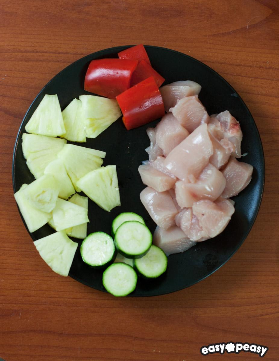 Spiedini pollo e ananas