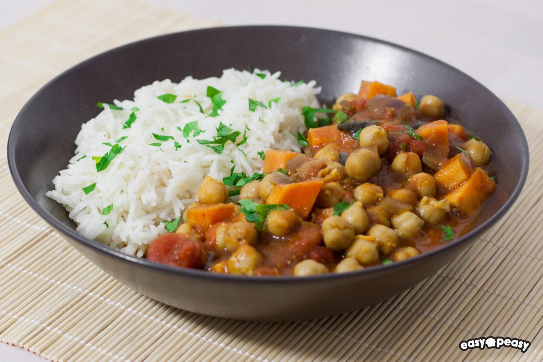Curry di ceci e patata dolce.