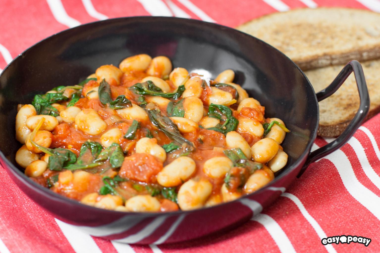 Fagioli e spinaci piccanti!