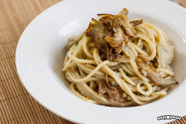 Spaghetti carciofi e bottarga!