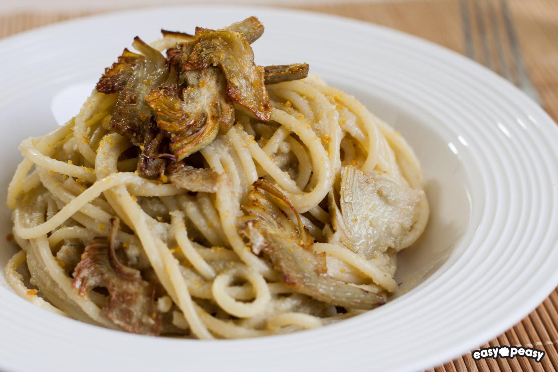 Spaghetti carciofi bottarga
